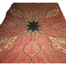 """Early 19th Century Indian Pieced Wool """"Paisley"""" Tapestry"""