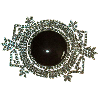 Vintage Art Deco Sterling, Marcasite, and Onyx Pin