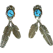 Native American Sterling & Turquoise Drop Earrings