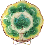 Vintage Majolica Pottery Bowl with Maple Leaf