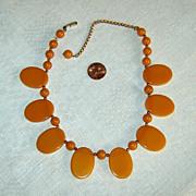 Vintage Caramel Bakelite Bead Choker Necklace