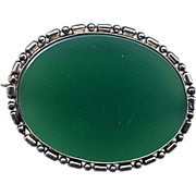 Sterling Silver and Green Onyx Chrysoprase Pin