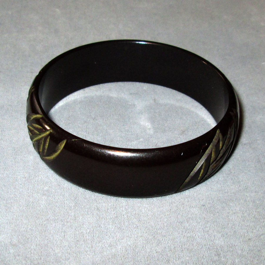 Carved Black Bakelite Bangle Bracelet