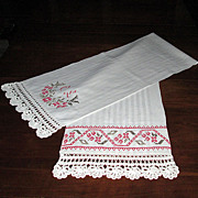 Long Victorian Linen Towel with Cross Stitch Decoration