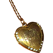 Gold-Filled Heart Locket with Rhinestones and Long Chain
