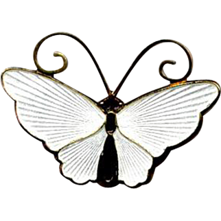 Norway Sterling & White Guilloche Enamel D-A Butterfly Pin