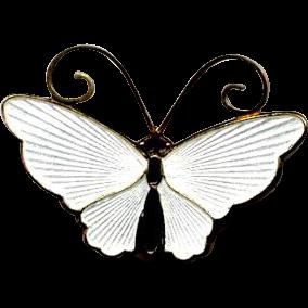 Norway Sterling & White Guilloche Enamel D-A Butterfly Pin