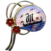 Norway Sterling and Enamel Viking Ship Pin