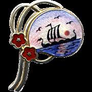 Norway Sterling and Enamel Viking Ship Pin