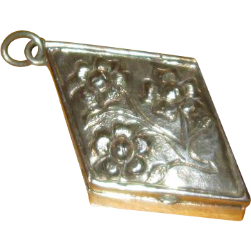 Mexican Silver Lozenge-Shaped Pillbox with Bail