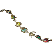 Sterling Silver Kabana Link Bracelet with Enameled Fish