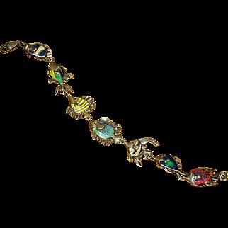 Sterling Silver Kabana Link Bracelet with Enameled Fish