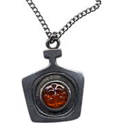 Modernist Pewter and Glass Sweden Pendant Necklace