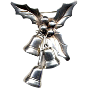Mexican Sterling Bells and Holly Christmas Pin