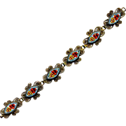 Costume Brass and Mosaic Link Bracelet