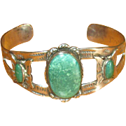 Turquoise & Sterling Cuff Bracelet with Butterflies
