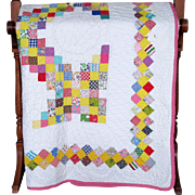 "Depression-Era Patchwork ""Triple Irish Chain"" Quilt"