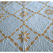 Peach and White Pieced Star-Pattern Quilt - Red Tag Sale Item