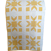 Vintage Hand-Made Yellow and White Pieced Quilt