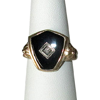10K Gold Victorian Black Onyx Ring with Diamond