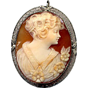 14K White Gold Signed Shell Cameo Pin/Pendant