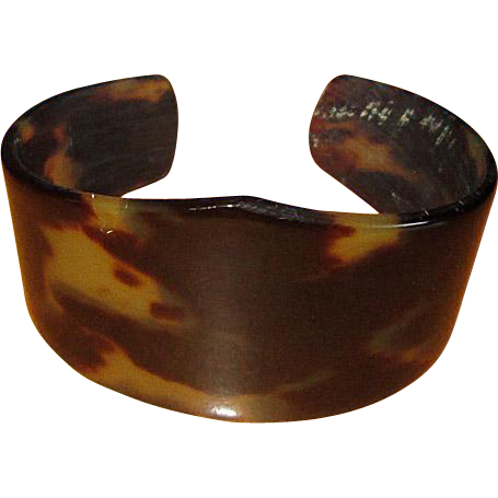 Vintage tortoise shell cuff bracelet sold on ruby lane for Real tortoise shell jewelry