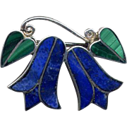 Vintage Mexican Silver Pin with Lapis Lazuli & Malachite