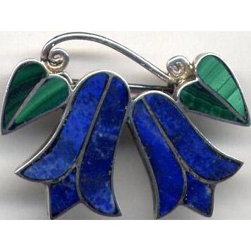 Vintage Mexican Silver Pin with Lapis Lazuli & Malachite