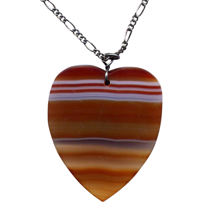 Banded Agate Heart Pendant with Sterling Silver Chain