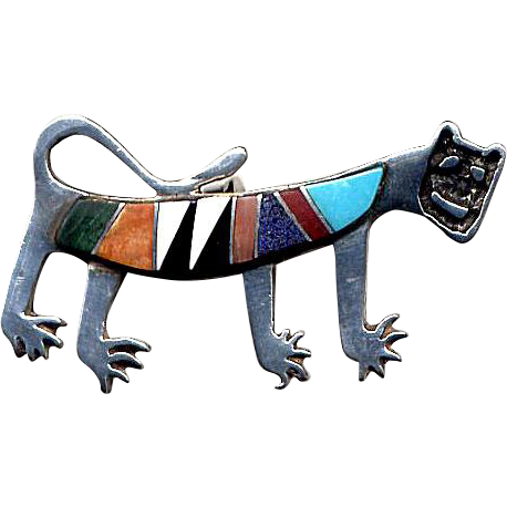 Native American Sterling Inlaid Cat Puma Pin