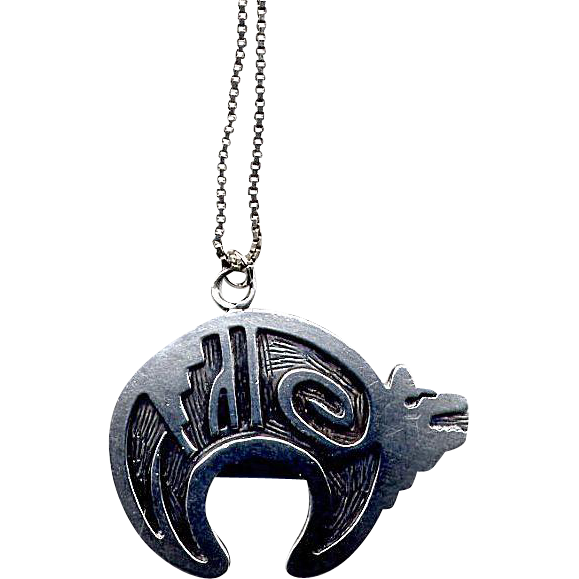Native American Sterling Hopi Bear Pendant with Chain