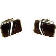 Sterling Silver and Banded Agate Cufflinks
