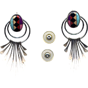 Native American Post Earrings with Channel Inlay Work
