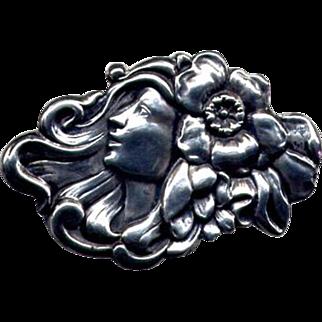 Original Art Nouveau Repousse Sterling Lady Brooch