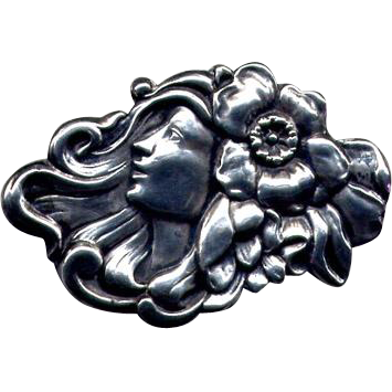 Original Art Nouveau Repousse Sterling Lady Brooch