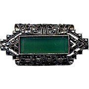 Vintage Sterling & Marcasite Pin with Chrysoprase Stone