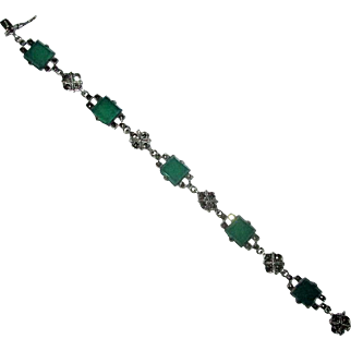 Sterling  & Marcasite Link Bracelet with Chrysoprase