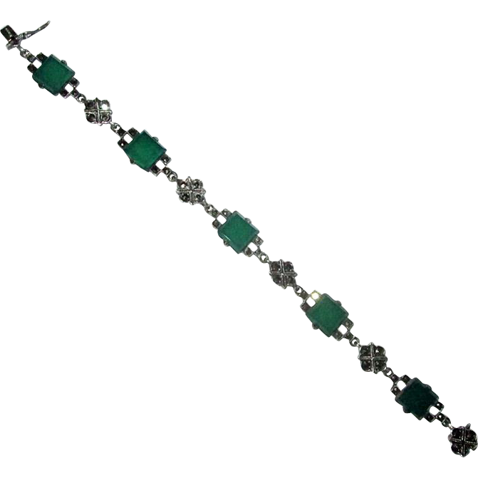 Sterling  & Marcasite Link Bracelet with Chrysoprase