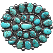 Native American Silver & Turquoise Cluster Brooch