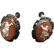 Vintage Silver & Marcasite Full-Figure Cameo Earrings