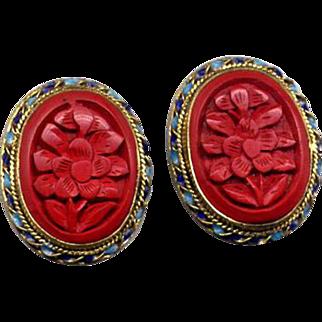 Sterling Vermeil Clip Earrings with Carved Cinnabar