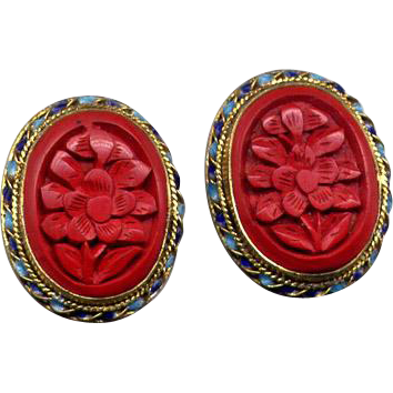 Sterling Vermeil Clip Earrings with Carved Cinnabar