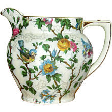 English Transfer-Ware Pottery Chintz Pitcher
