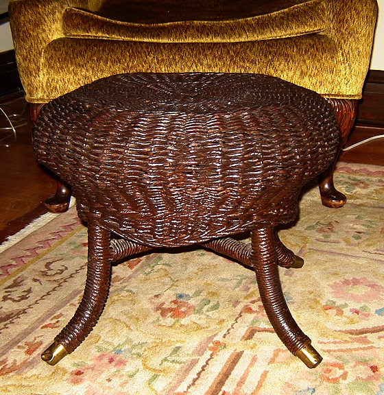Round Natural Wicker Footstool