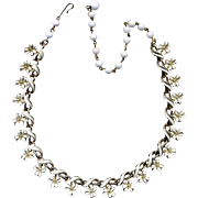 Coro Gold-Filled White Enamel Floral Link Necklace