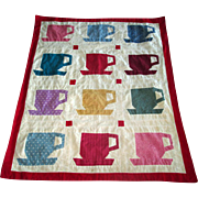 "Vintage Patchwork ""Cup and Saucer"" Crib Blanket"