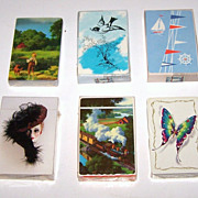 "5 Decks Playing Cards, $10 ea.: B&B Redislip (Detlefsen) ""Days to Remember""); Western/Whitman ""Butterfly""; Unique Creations ""Glamour Girl""; Lady Baltimore (Detlefsen) ""Iron Horse""); Western/Whitman ""Sailboat """