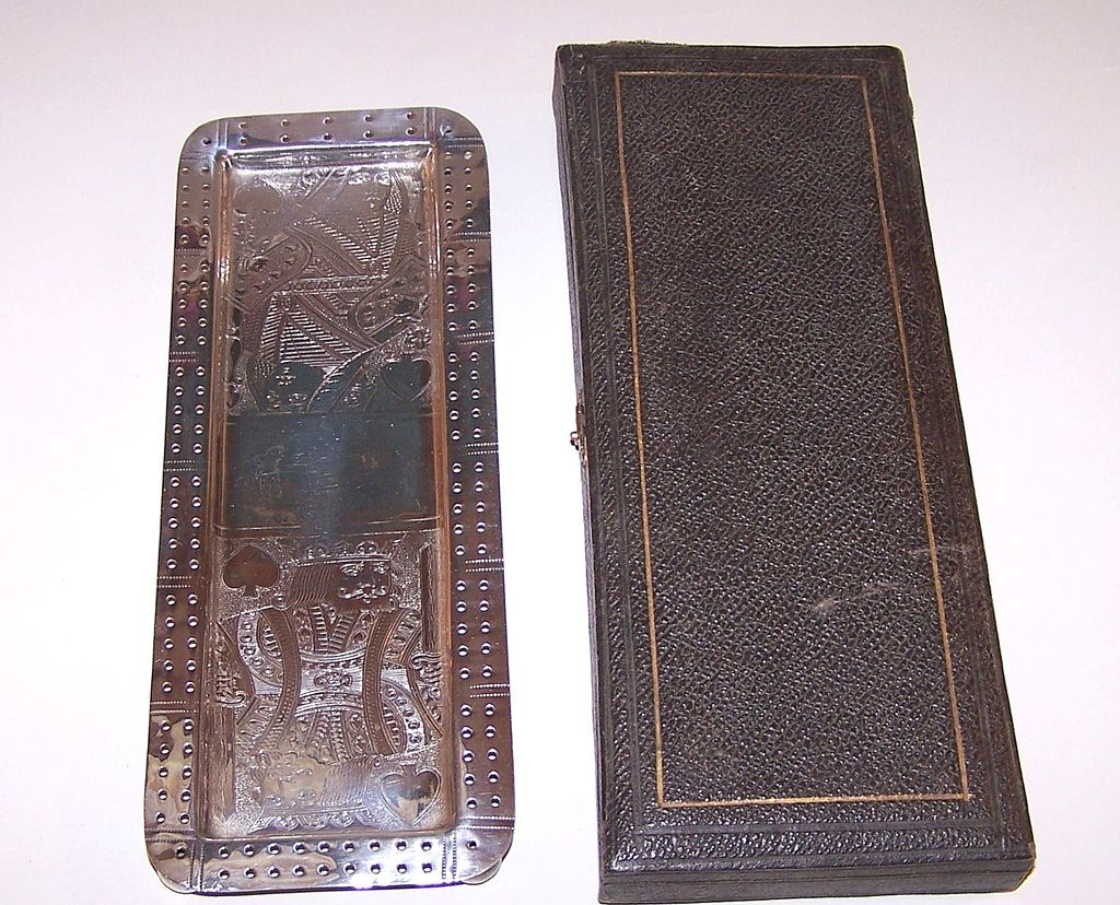 Silver Cribbage Board, Engraved w/ Playing Cards, c.1885-1890