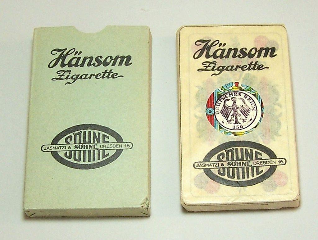 Flemming-Wiskott A.G. Skat Playing Cards, Saxon Pattern, Hänsom Zigarette Adv., c.1930