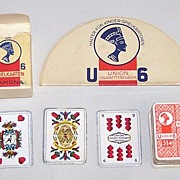 "German Miniature ""Sächsisches Doppelbild"" (""Saxon Pattern"") Skat Playing Cards, Maker Unknown, Union Cigarettes Adv., w/ Card Holder, c.1935"